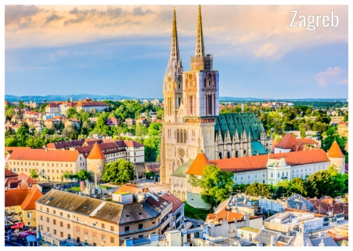 The iconic buildings of the cathedral in Zagreb, Croatia in an early autumn morning